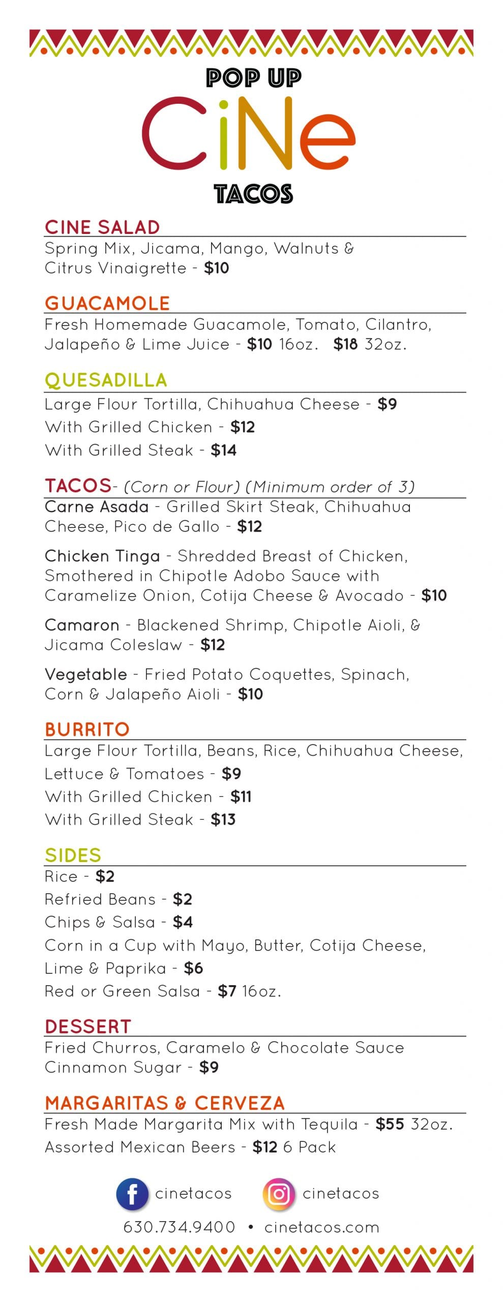 CiNe Pop Up Tacos Menu